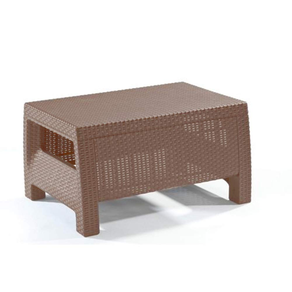 Outdoor Coffee Table Patio Furniture Resin Plastic Material Ratan Style Weatherpoof Brown