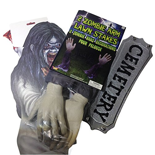Halloween Decorations ( 3 Piece Forum Novelties Zombie Bundle ) for Outdoor Yard Decor - Perfect for Gravestone or Graveyard (Homemade Werewolf Costume)