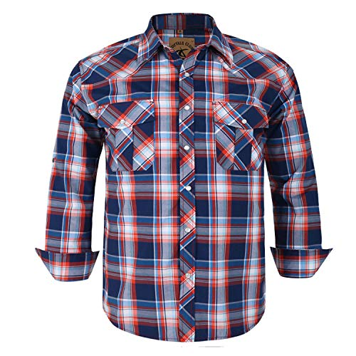 Coevals Club Men's Button Down Plaid Long Sleeve Work Casual Shirt (Red & Blue #15, S) (Sleeve Plaid Long Casual)