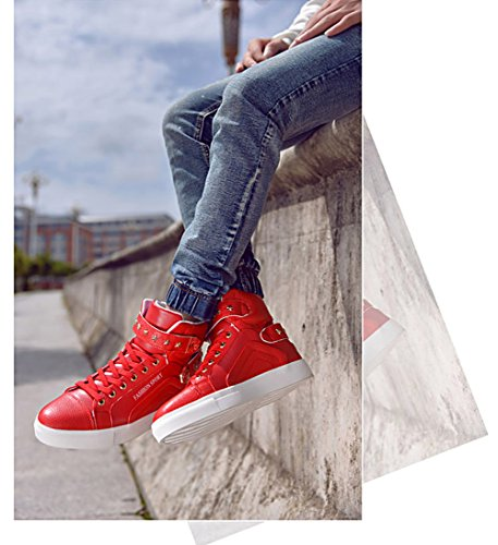 Men High High Red Sneakers Fashion Top Fashion Sneakers Men Red Top qxTn6wpY5x
