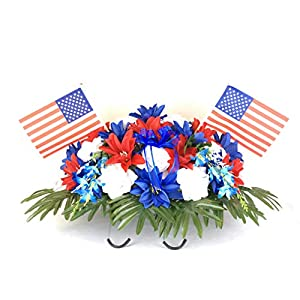 starbouquets Patriotic Cemetery Saddle Flowers for Headstone and Grave Decoration - Red Navy Blue Dahlias and White Rose Mix Saddle ~ USA National Flag ~ Fathers Day 102