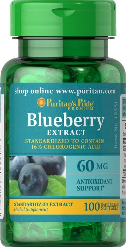 Puritan's Pride Blueberry Leaf Standardized Extract 60 mg-100 Softgels Blueberry Leaf Extract