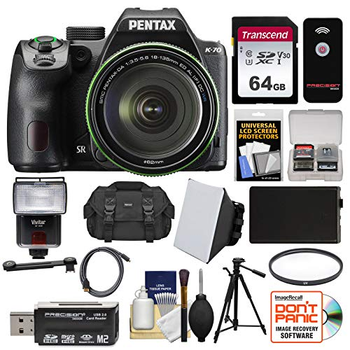 (Pentax K-70 All Weather Wi-Fi Digital SLR Camera & 18-135mm WR Lens (Black) with 64GB Card + Case + Flash + Battery + Tripod + Filter + Kit)
