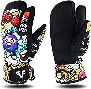 Famyfamy Winter Ski Gloves, Non-Slip Waterproof Thicken Adjustable Snowboard Climbing Snow Gloves, Sports Warm