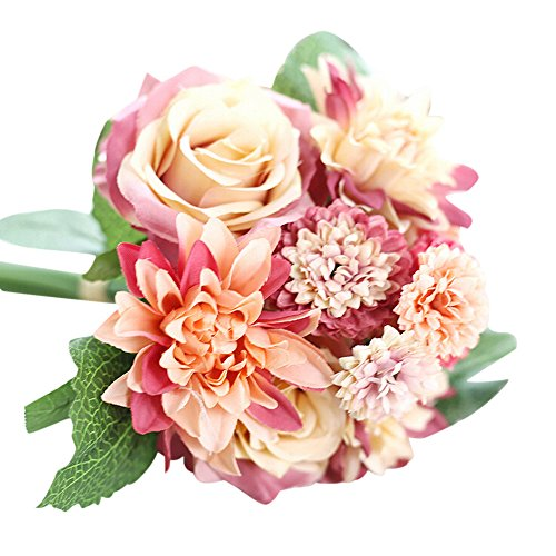 - Hunzed Artificial Flowers Real Touch Fake Gypsophila/Rose/Peony Flowers Bouquet for Wedding Party Table Centerpieces Home Kitchen Office Windowsill Decorations (Red 03)