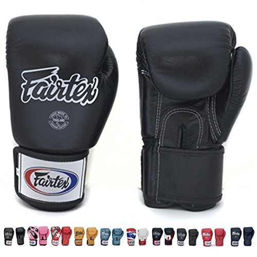(Fairtex Muay Thai Boxing Gloves BGV1 Size : 10 12 14 16 oz. Training Sparring All Purpose Gloves for Kick Boxing MMA K1 (Solid Black, 16)