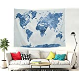 """Shukqueen Tapestry, The Blue World Map Wall Tapestry Bohemian Mandala Hippie Tapestry for Bedroom Living Room Dorm (51"""" H x 60"""" W, Blue Map)"""