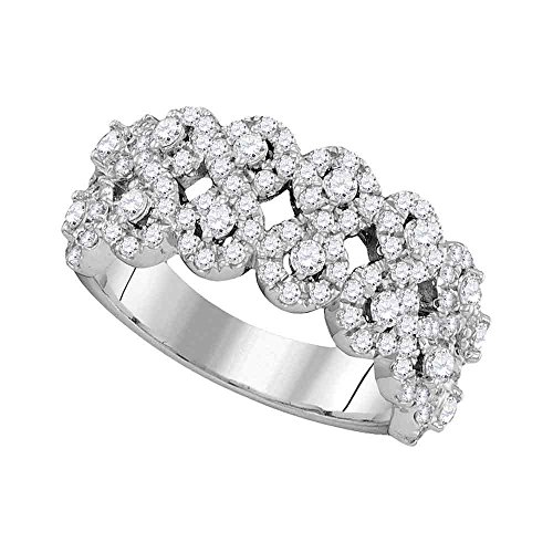 Jewels By Lux 14kt White Gold Womens Round Diamond Double Row Circle Cluster Band 1-1/3 Cttw Ring Size 6.5