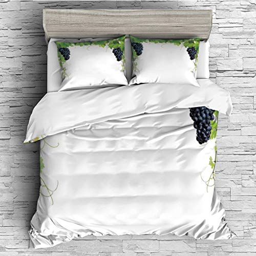 3 Pieces (1 Duvet Cover 2 Pillow Shams)/All Seasons/Home Comforter Bedding Sets Duvet Cover Sets for Adult Kids/Singe/Grapes Home Decor,Wine Leaf with Loose Bunch of Large Berries Tannin Breed French ()