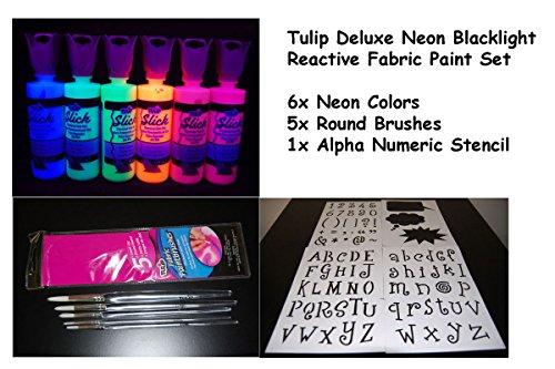 4oz Deluxe Neon Blacklight Reactive Fabric Paint Combo Set