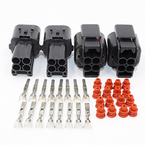 EMeskymall 2 Set 4Pin Way Car Auto Motorcycle Waterproof Electrical Wire Connector Plug -