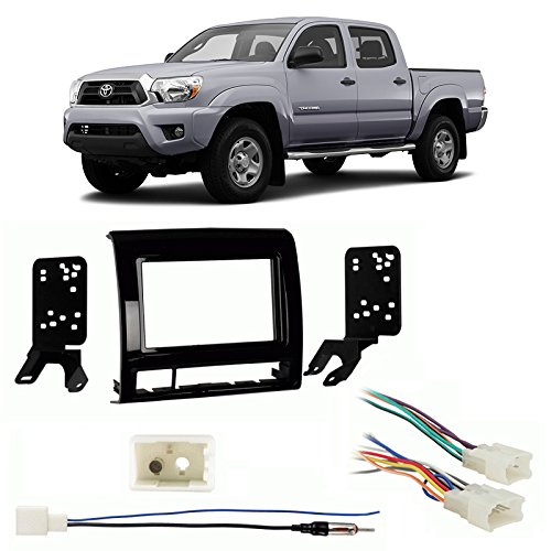 Fits Toyota Tacoma 13-14 Double DIN Harness Radio Dash Kit - Matte Black