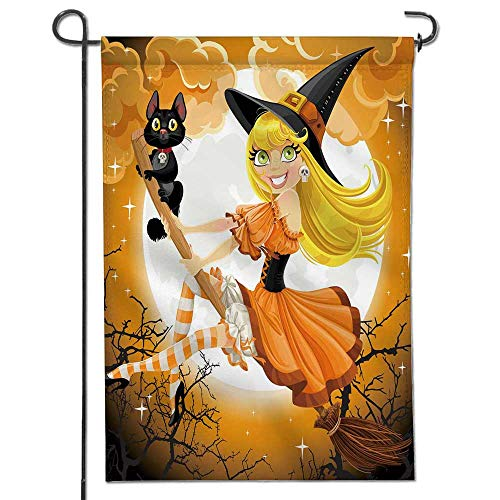 Jiahonghome Proud to Be Patriotic Garden Flag Beautiful Witch and her Black cat Familiar Flying on a b Stick on Halloween Sky Crab and Star Print Both Sides 16