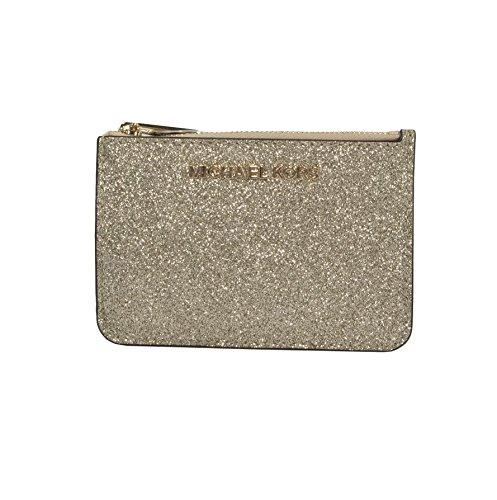 Michael Kors Gold Glitter Leather Jet Set Card Case Key Pouch Wallet by Michael Kors