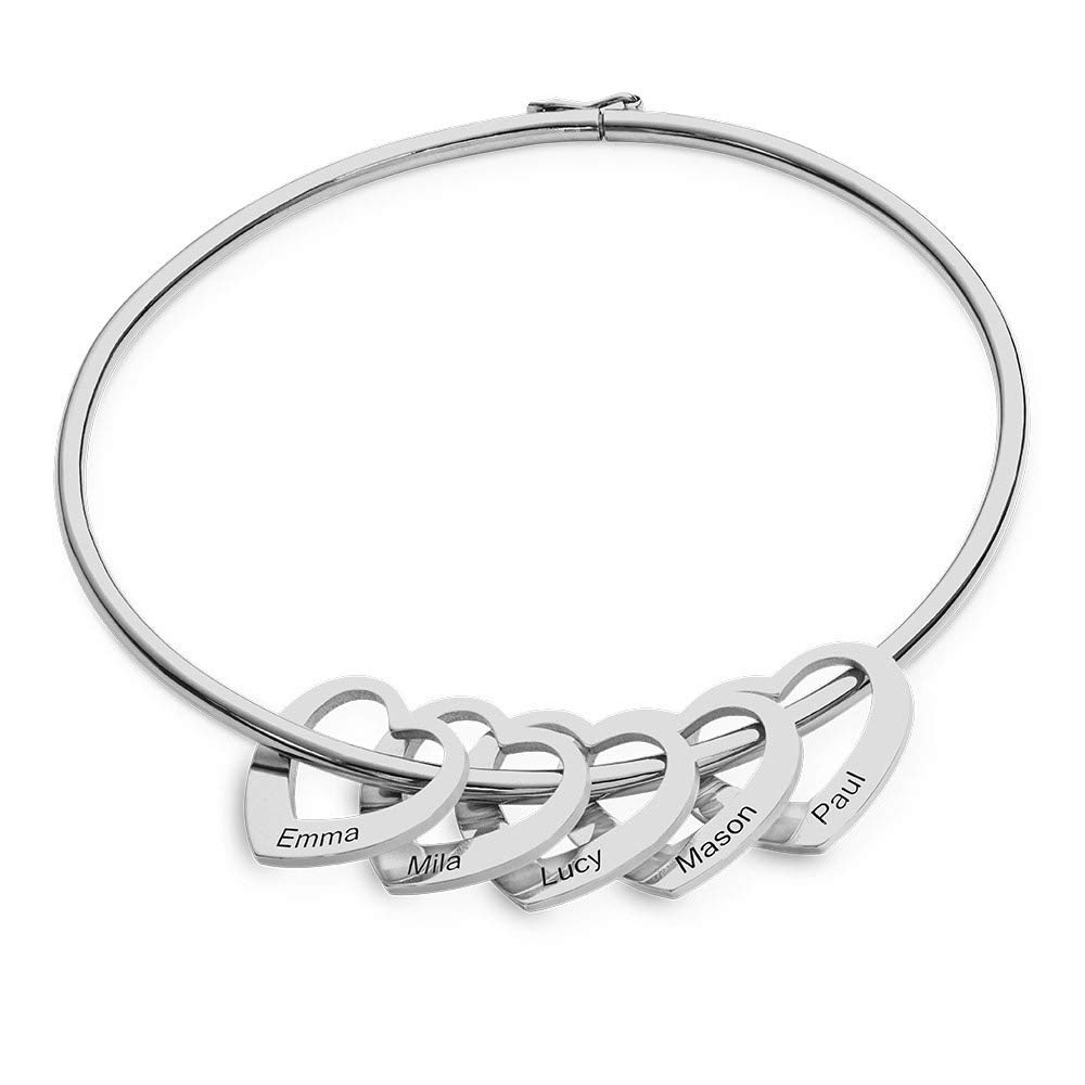 Personalized Sterling Silver Name Bangle Bracelets for Women with Heart Charms Custom Family Name Bracelets for Mothers Bangle Bracelets (Silver, 5 Name) by Alicia-E