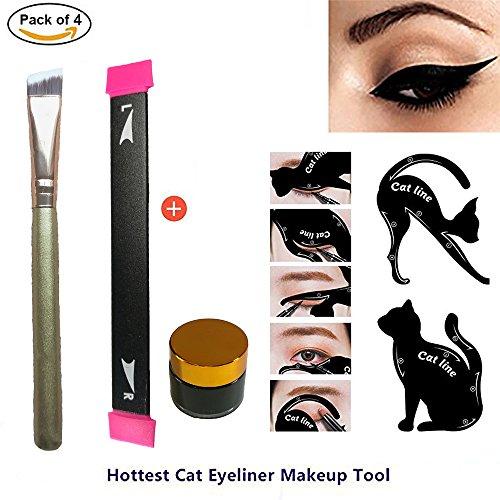 Eyeliner Stamp Easy to Makeup Tool Cat Eye Winged Stamps 4 pc Set Natural Eye Makeup to Eye Makeup tool with 2 in 1 Cat Eyeliner Stencil Smoky Eyeshadow Applicators - Wing Cat Eye