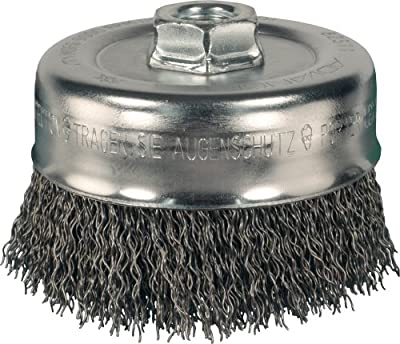 "PFERD 82510 Power Crimped Cup Wire Brush, Threaded Hole, Carbon Steel Bristles, 4"" Diameter, 0.014"" Wire Size, 5/8""-11 Thread, 9000 Maximum RPM"