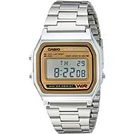 Men's A158WEA-9CF Casual Classic Digital Gold Bracelet Watch