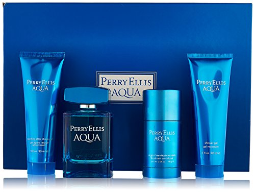 Gift Set After Shave Gel (Perry Ellis Aqua Perry Ellis Men Gift Set (Eau de Toilette, After Shave Gel, Shower Gel, Deodorant))