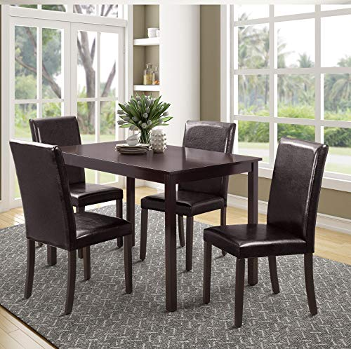 Rhomtree 5 Pieces Dining Set Home Kitchen Table and Chairs Wood Home Dining Room Furniture with 4 Faux Leather Cushioned Chairs Breakfast Furniture (Espresso)