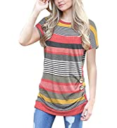 Unidear Women's Casual Short Sleeve Tunic Round Neck Loose T Shirt Blouse Tops with Retro Buttons