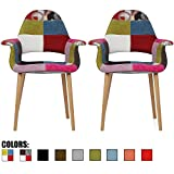 2xhome - Set of Two (2) - Multi-color - Upholstered Organic Arm Chair Armchair Fabric Chair Patchwork Multi-pattern Light brown Natural Wood Leg Dining Room Chair With arm Modern …