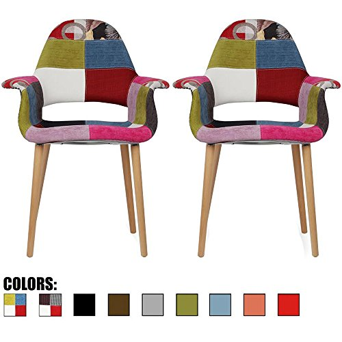 2xhome – Set of 2, Patchwork Patterned Mid Century Modern Upholstered Fabric Organic Accent Living Room Dining Chair Armchair Set with Back Armrest Natural Wood Wooden Legs for Kitchen Bedroom Ann
