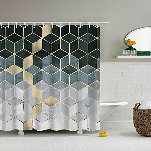 - YoKii Geometric Fabric Shower Curtain, Green-Black Ombre Cubes Dazzling Diamond Polyester Bath Curtain Set, 72-Inch Spa Hotel Heavy Weighted Bathroom Decor Curtains (72 x 72, Gradient Cubic)