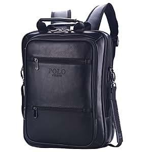 VIDENG POLO Classic Vintage Genuine Leather RFID Blocking Secure Cross body Briefcase Business Laptop Messenger Shoulder Backpack Bag for 13 15 17 inch Macbook Laptop(S6-black)