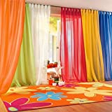 """IYUEGO Rainbow Color Orange Sheer Curtain Draperies With Multi Size Customs 50"""" W x 63"""" L (One Panel)"""