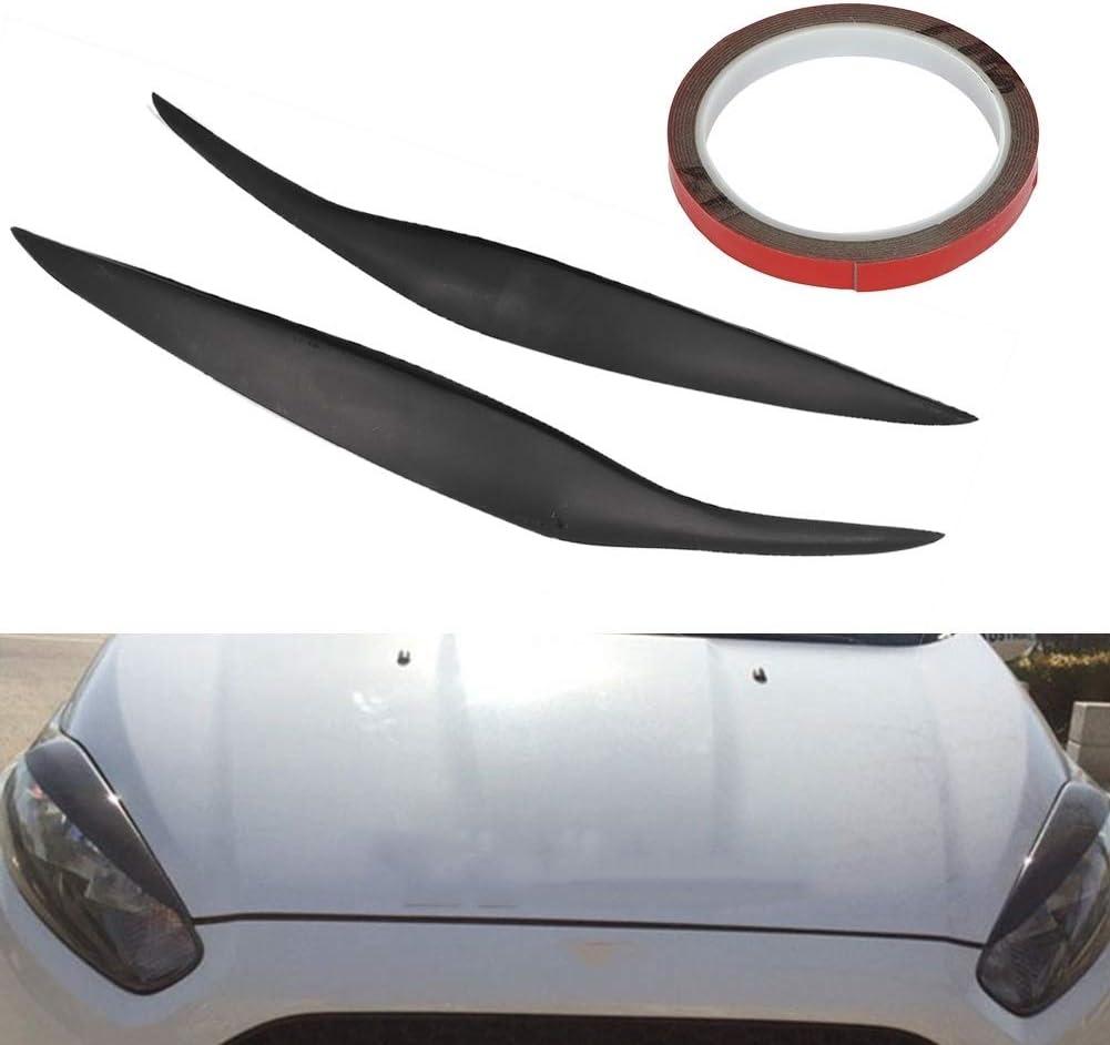 KSTE 2pcs en Fibre de Carbone Phare de Voiture Sourcils Paupi/ère Autocollant Trim Fit Compatible with Ford Fiesta Noir
