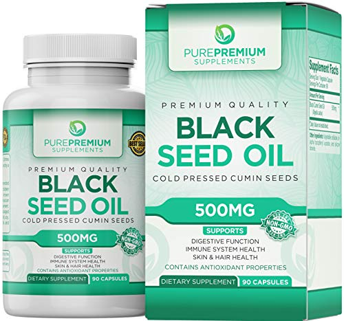 Premium Black Seed Oil Capsules by PurePremium (Non-GMO & Vegetarian) Cold Pressed Nigella Sativa Supplement - 90 Caps of Black Cumin Seed Oil
