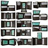 New Black & Brown wholesale lot of 24 Premium leather Bifold/Trifold wallets by Marshal (Brown)
