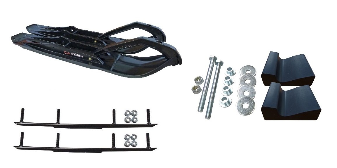 C&A Pro Black XCS Snowmobile Skis w/ 6'' Round Bars Complete Kit Ski-Doo Summit 4th Gen Chassis by Powersports Bundle