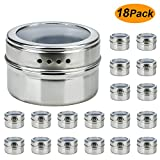 18 Magnetic spice tins-stainless steel storage spice containers,Clear Top Lid with Sift or Pour,Magnetic on Refrigerator and Grill By Ruckae