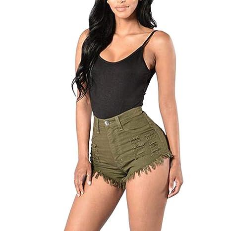 Treemart Fashion Summer Women Sexy Denim Shorts Elastic High Waist Solid Color Frayed Tassel Lady Girls