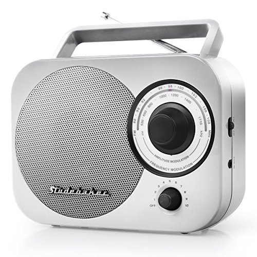 Studebaker AM/FM Radio SB2000SB Silver/Black Retro Classic Portable AM/FM Radio with Aux Input Limited Edition Color