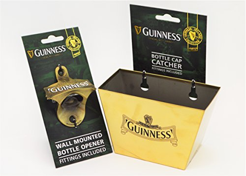 Guinness Ireland Gold Wall Mount Bottle Opener & Cap Catcher Set
