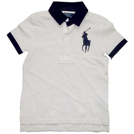 Ralph Lauren Niños Polo Camiseta de Big Pony Polo Jinete con camisa Cuello  Blanco Color Azul 06759996e64fd