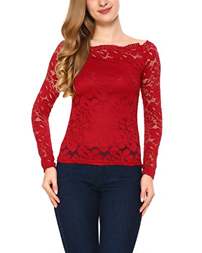 Mixfeer Women's Off Shoulder Long Sleeve Floral Lace Blouse (Red Lace Top)