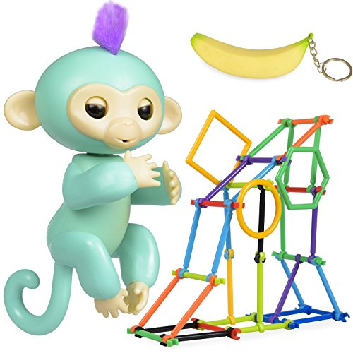 Interactive Finger Monkey Toy - Gift for Girls & Boys - Baby Monkey Jungle Gym Playset 50 Pieces + Banana Squishy Keychain Accessories BONUS (Turquoise)