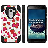 [Mobiflare] Dual Layer Armor Case [Kickstand] for Alcatel REVVL /Alcatel Walters / Alcatel A30 Fierce [2017] [Black/Black] Mil-Spec - [Strawberries]