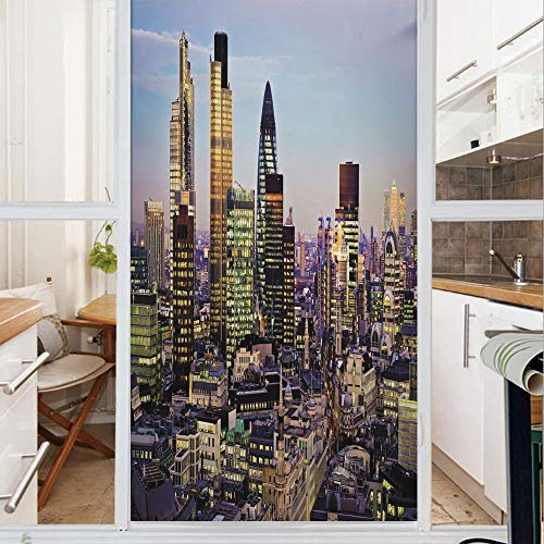 Decorative Window Film,No Glue Frosted Privacy Film,Stained Glass Door Film,Modern Architecture of Downtown London Center of Global Finance Famous Capital City,for Home & Office,23.6In. by 78.7In Mult