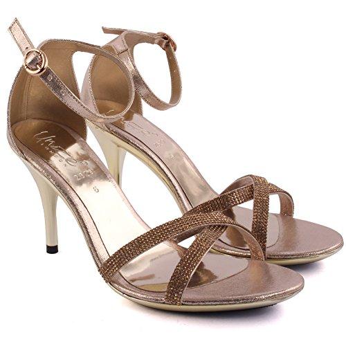 Unze Neue Frauen-Damen-Lotterie Diamante verschönert Crossover Mid High Heel Partei Prom Hochzeit Braut Tag Ankle Strap Abends Sandalen UK Größe 3-8 - 2629 Gold