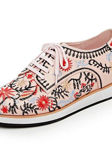 ZQ 2016 Zapatos de mujer - Tacón Plano - Comfort / Punta Redonda - Oxfords - Exterior / Casual - Cuero / Lino - Rosa / Blanco , pink-us8 / eu39 / uk6 / cn39 , pink-us8 / eu39 / uk6 / cn39 white-us6.5-7 / eu37 / uk4.5-5 / cn37