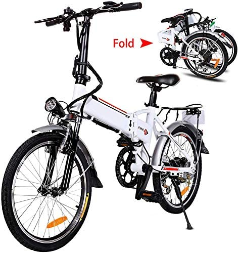 20 Folding Electric Bike with Removable Large Capacity Lithium-Ion Battery 36V 250W , Electric Bicycle 7 Speed Gear and Three Working Modes White, 20 inch