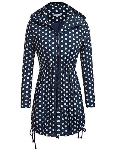 Zeagoo Women Lightweight Travel Trench Raincoat Hoodie Windproof Outdoor Coat Pattern2 (Hoodie Trench)