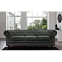 BD Home Furnishings Classic Scroll Arm Button Tufted Chesterfield Style Sofa - Ash Gray