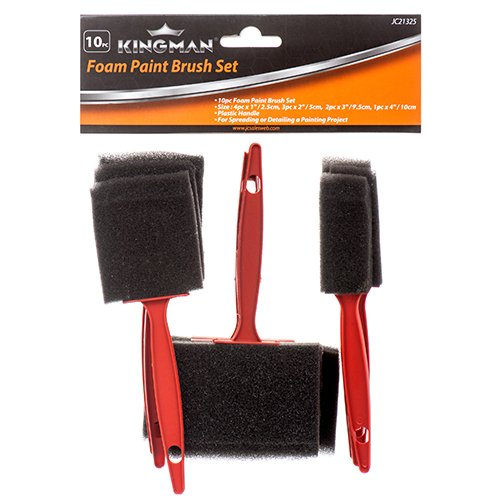 New 313862 Kingman Paint Foam Brush Set 10Pc (24-Pack) Paints Supply Cheap Wholesale Discount Bulk Hardware Paints Supply Black by Kingman