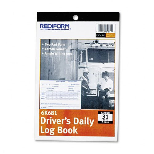 Rediform : Driver`s Daily Log, 5-1/2 x 7-7/8, Duplicate w/Carbons, 31 Sets/Book -:- Sold as 2 Packs of - 1 - / - Total of 2 Each